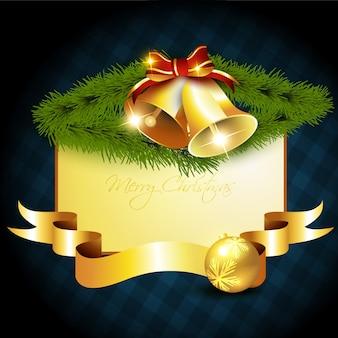 Kaart leeg met kerst belle