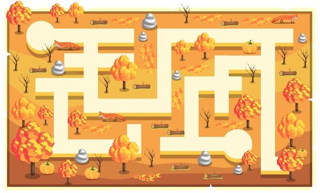 Kaart lichtoranje natuur met pad en grote bomen, bossen, rotsen, vos en pompoen voor 2d game platformer illustration