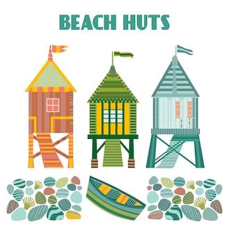 Kaart met b. elke hut en een houten boot.