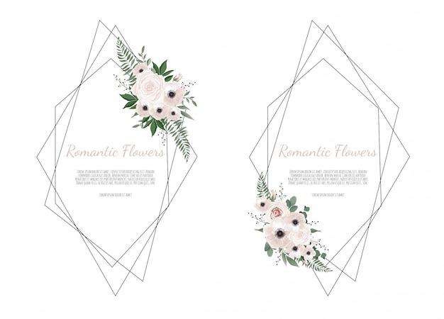 Kaart met bladeren en geometrische frame