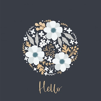Kaart met bloemen frame van anemonen en andere bloemen en handgeschreven opschrift hallo.