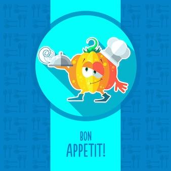 Kaart met chef-kok cartoon pompoen