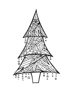 Kaart met doodle zwart-wit kerstboom en boho patroon