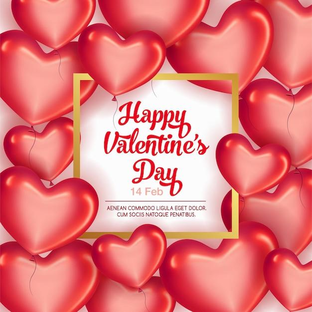 Kaart met frame en rode harten voor valentijnsdag