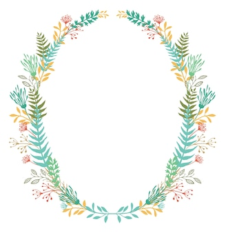 Kaart met frame van bloemen en varens