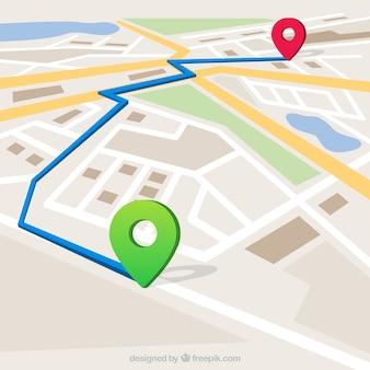 Kaart met gemarkeerde route