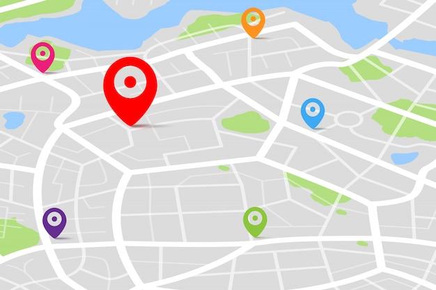 Kaart met gps-bestemmingspunt