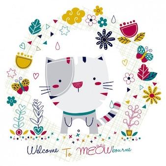 Kaart met kat en bloemen frame