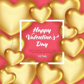Kaart met realistische gouden harten en frame voor valentijnsdag vakantie.