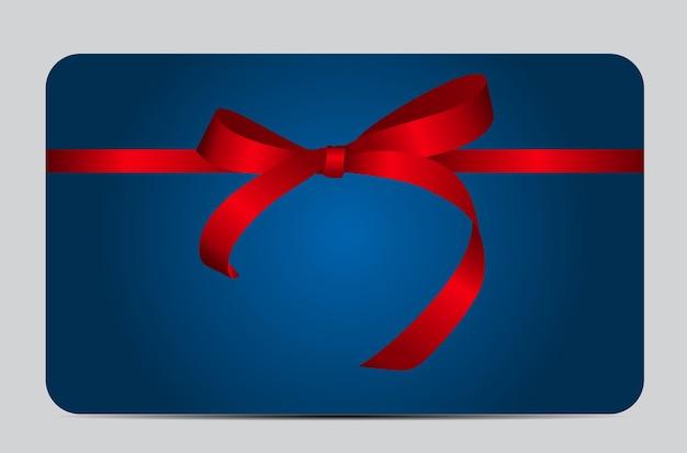Kaart met rood cadeau lint. illustratie