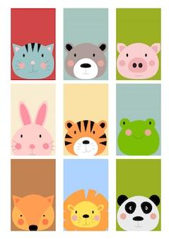 Kaart met schattige hand getrokken dieren tekens collectie set. cartoon dierentuin dieren haas, tijger, kikker, vos, leeuw, panda, kat, beer, varken