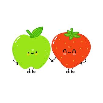 Kaart met schattige vrolijke aardbei en appel