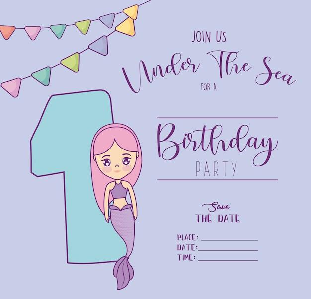 Kaart met schattige zeemeermin en nummer één