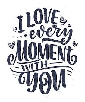 Kaart met slogan over liefde in mooie stijl. kalligrafie tekst voor valentijnsdag.