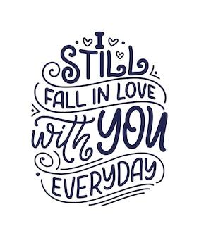 Kaart met slogan over liefde in mooie stijl voor valentijnsdag