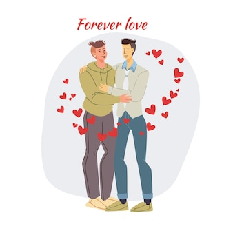 Kaart met verliefde paar op hun date op valentijnsdag