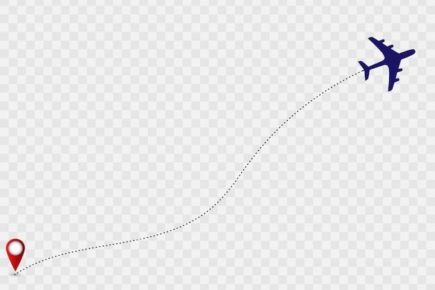 Kaart met vliegtuigspoor. vector illustratie