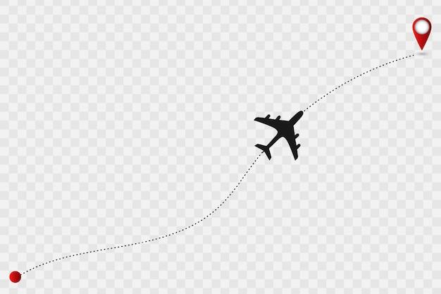 Kaart met vliegtuigspoor.