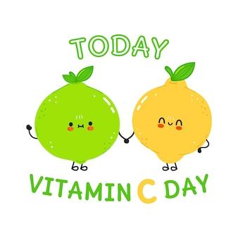Kaart met vrolijke limoen en citroen