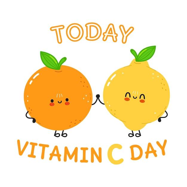 Kaart met vrolijke sinaasappel en citroen
