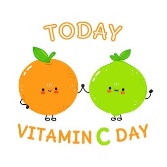 Kaart met vrolijke sinaasappel en limoen