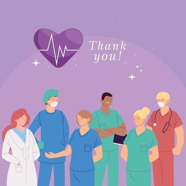 Kaart met vrouwen en mannen artsen met uniformen en dank u tekst