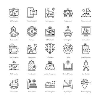 Kaart navigatie lijn pictogrammen