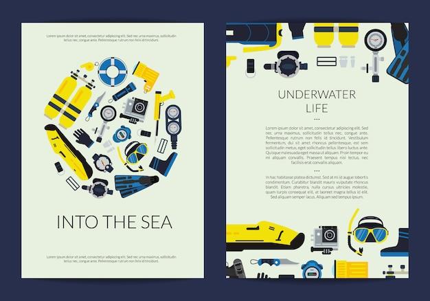 Kaart of brochure sjabloon voor duikbedrijf onder water