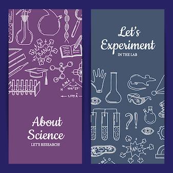 Kaart of flyer sjabloon met getekende elementen van de wetenschap of scheikunde