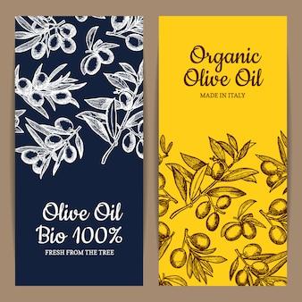 Kaart of flyer sjabloon met plaats voor tekst voor oliebedrijf met hand getrokken olijftakken