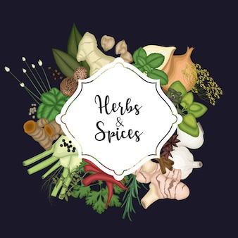 Kaart ontwerp achtergrond met specerijen en kruiden