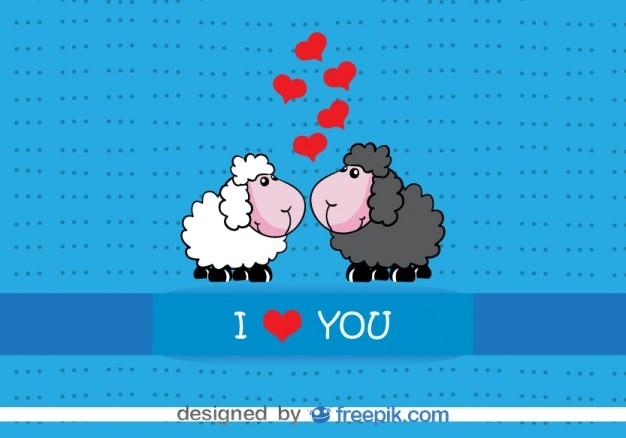 Kaart ontwerp cartoon schapen kussen valentijnsdag