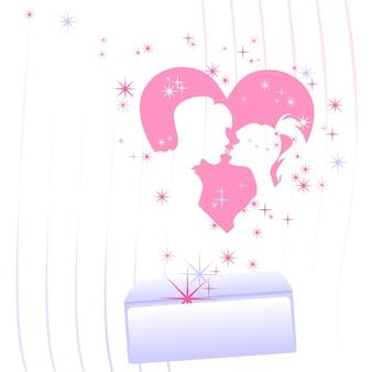 Kaart op de dag van geliefden een envelop die vertrekt vanuit het hart de silhouetten van de geliefden en...
