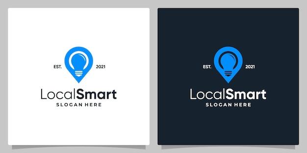 Kaart pin locatie symbool met gloeilamp en visitekaartje ontwerp.