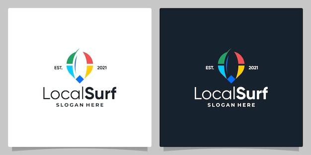 Kaart pin locatie symbool met logo een surf en visitekaartje ontwerp.