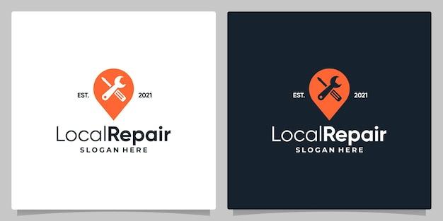 Kaart pin locatie symbool met logo een werkplaatsuitrusting en visitekaartje ontwerp.