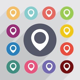Kaart pin, plat pictogrammen instellen. ronde kleurrijke knopen. vector