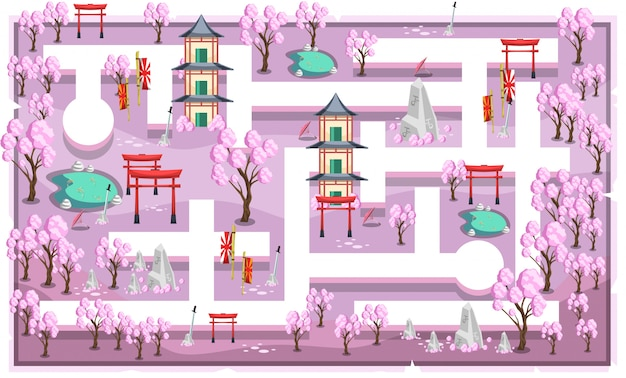 Kaart pink sakura japanese theme met path and home, fish pond en japanese style ornament voor 2d game platformer illustration