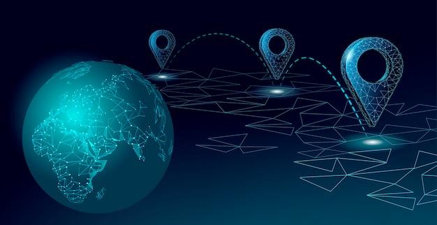 Kaart punt locatie bedrijfssymbool. realistische pictogram veelhoekige levering wereldwijd planeet. verzending online winkelen richting stad adres positie pin illustratie.