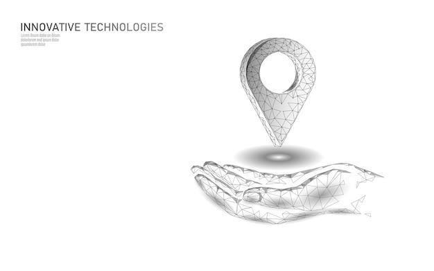 Kaart punt locatie bedrijfssymbool. realistische pictogram veelhoekige levering wereldwijd planeet. verzending online winkelen richting stad adres positie pin