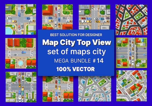 Kaart stad bovenaanzicht set architectuur