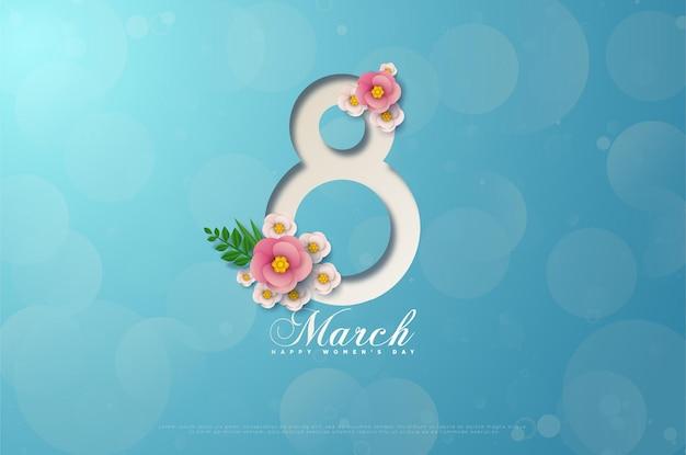 Kaart van 8 maart met duidelijk omlijnde cijfers en roze bloemen op een blauwe kaart.