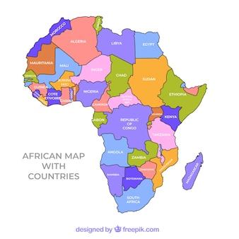 Kaart van afrika continent met verschillende kleuren