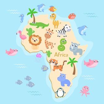 Kaart van afrika met dieren voor kinderen. plat ontwerp.
