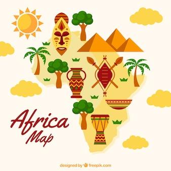 Kaart van afrika met elementen in vlakke stijl