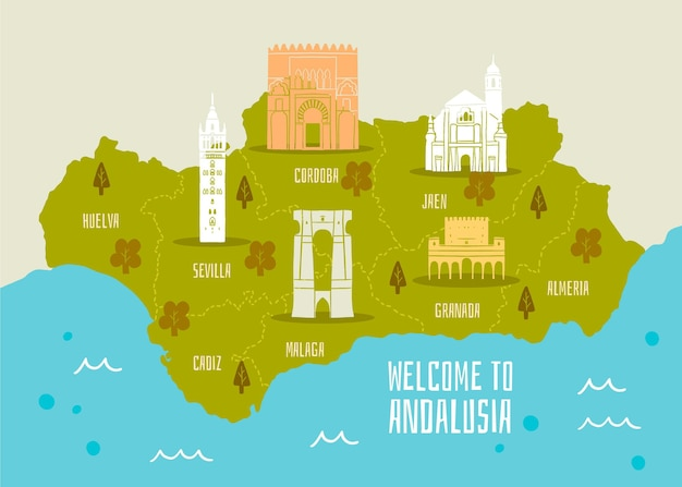 Kaart van andalusië met bezienswaardigheden ontwerp