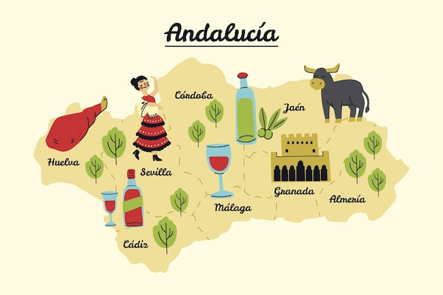 Kaart van andalusië met bezienswaardigheden