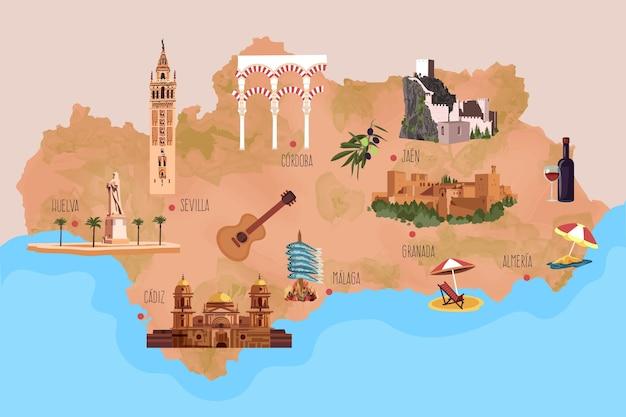 Kaart van andalusië met geïllustreerde oriëntatiepunten