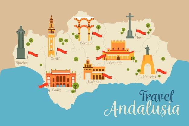 Kaart van andalusië met hun oriëntatiepunten
