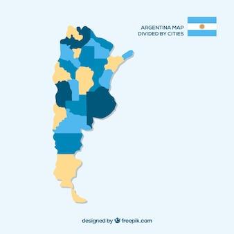 Kaart van argentinië gedeeld door steden